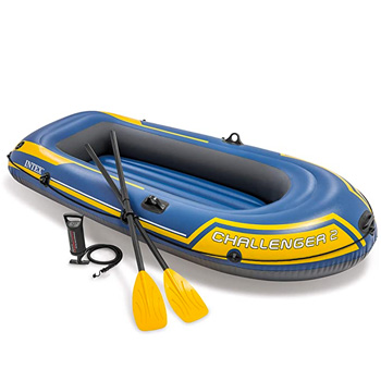 Intex Challenger 2 2-Person Inflatable Boat Set with French Oars and High Output Air Pump