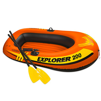 Intex Explorer 200 2-Person Inflatable Boat Set with French Oars and Mini Air Pump