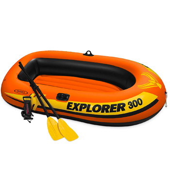 Intex Explorer 300 3-Person Inflatable Boat Set with French Oars and High Output Air Pump